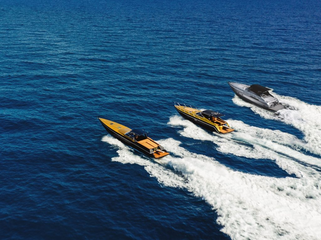 3 yachts cruising the ionian seas at hight speed